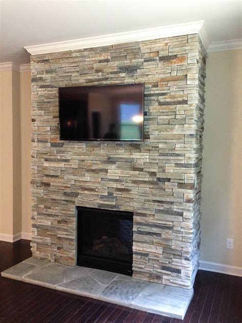 marvelous stacked stone around fireplace pics inspiration