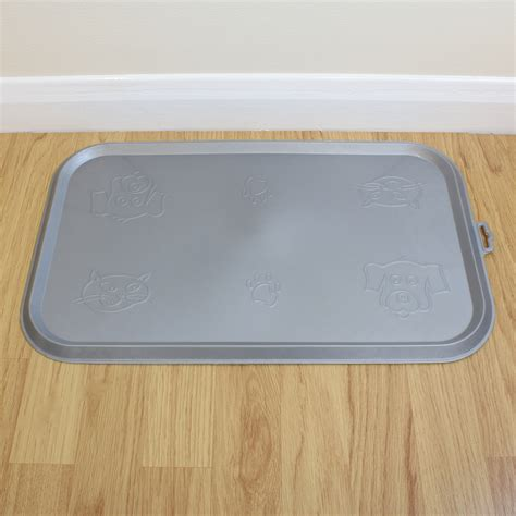 Rubber Food Mat - grey place mat for pet food bowl dish cat kitten