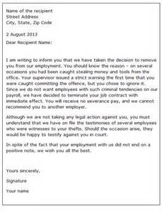 sample dismissal letter to employee images