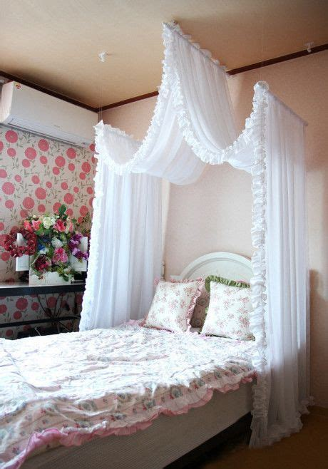 curtains over bed a romantic bed curtain i like this over a little girls