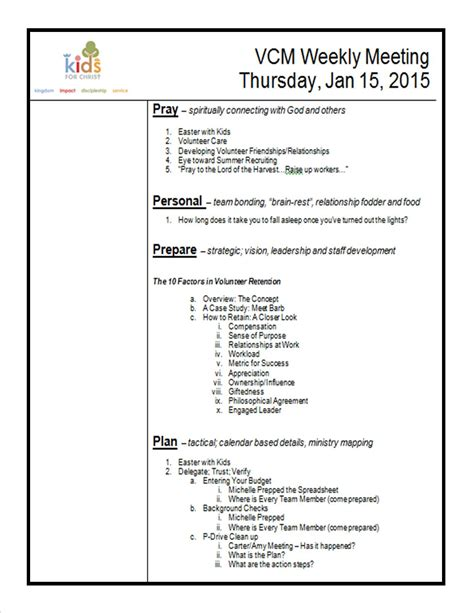 creating an agenda template how to create a meeting agenda kidminscience