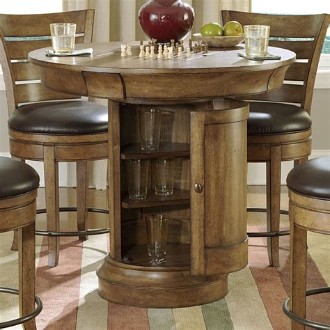 round pub bench round pub table sets hammary hidden treasures 5 piece round pedestal pub table