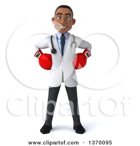 Dr Gloves Rgf Black clipart of a 3d black doctor wearing boxing gloves on a white background royalty