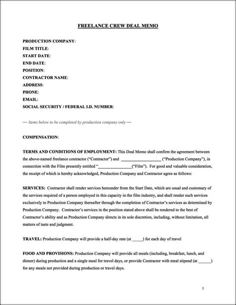 Film Crew Contract Template Sletemplatess Sletemplatess Crew Contract Template