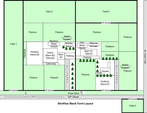Strohfus Stock Farm Layout - Today, I am pinning a few ... 1 Acre Horse Farm Layout