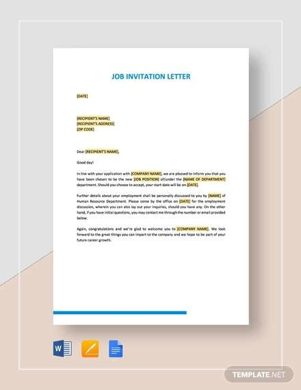 examples invitation letter templates