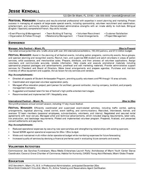 Resume Cover Letter Exles Event Planning Event Management Resume Best Resume Exle
