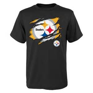 Pittsburgh steelers youth ripped off t shirt black fanzz