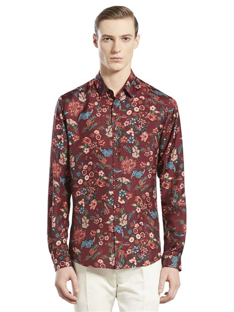 red pattern shirt gucci floral pattern woven shirt in red for men lyst