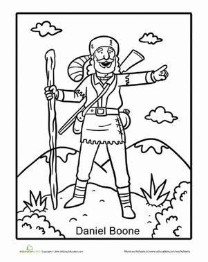 Tall Tales Daniel Boone Worksheet Education Com Daniel Boone Coloring Pages