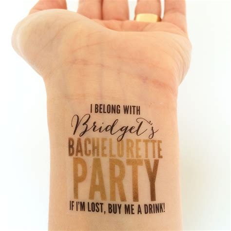 etsy temporary tattoos custom bachelorette temporary tattoos glam gold