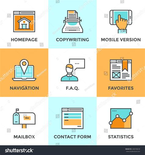 layout features of a website line icons set flat design website stock vector 248740618