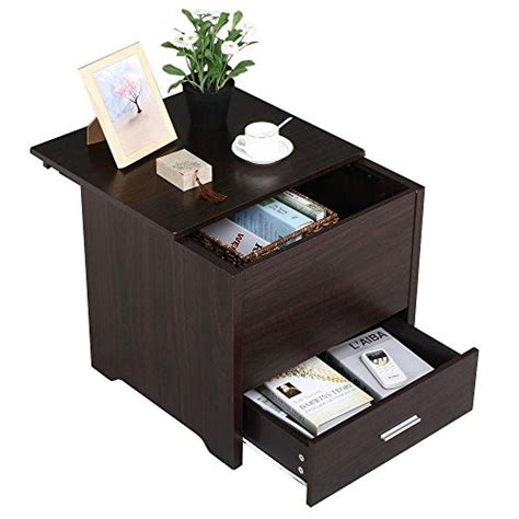 sofa side table with drawer yaheetech wood bedside table cabinet with storage drawer