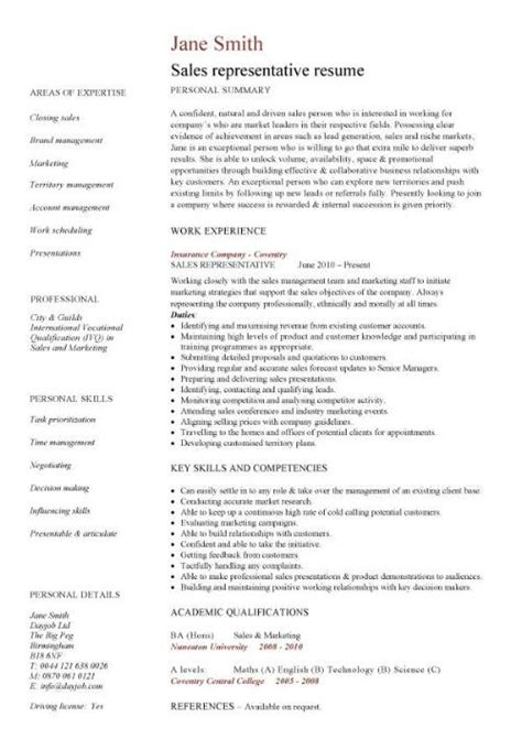 sle of resume cv sales rep resume representative exle