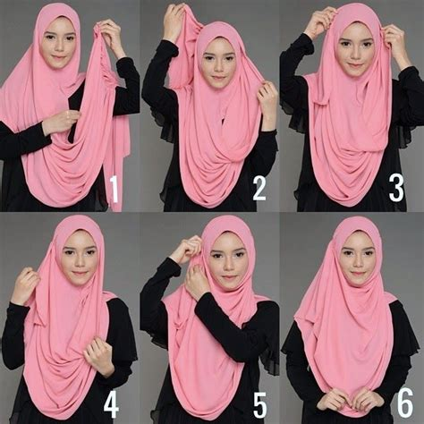 cara memakai kerudung segi empat yang cocok untuk wajah bulat kreasi cara berhijab segi empat menggunakan jilbab paris