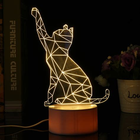color changing light table 3d usb cute cat acrylic night light 3 color changing led