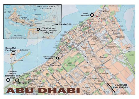 Printable Abu Dhabi Road Map | large road map of central part of abu dhabi city vidiani