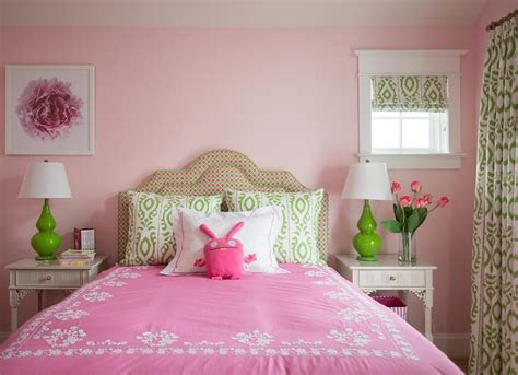 pink green girls bedroom pink and green girls room with gray nightstands