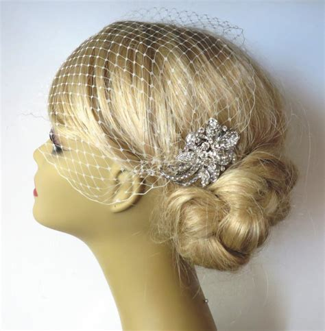 long nights french comb large metal hair comb with hair comb and a birdcage veil 2 items bridal headpiece
