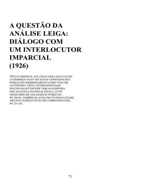 FREUD - A Questão Da Análise Leiga - 1926 - Vol. 17