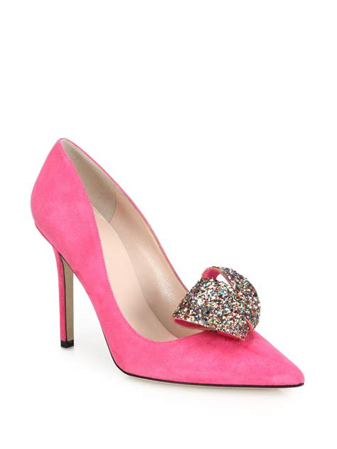 kate spade new york louisa glitter bow suede pumps in pink