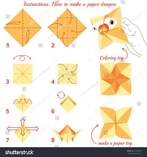 How To Make Toys With Paper Step By Step - how make paper bird origami stock vector