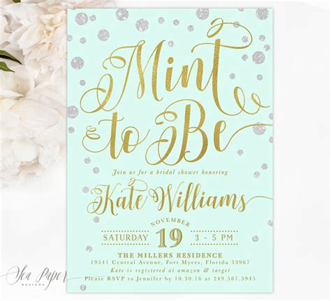 and mint bridal shower invites mint to be bridal shower invitation mint bridal shower