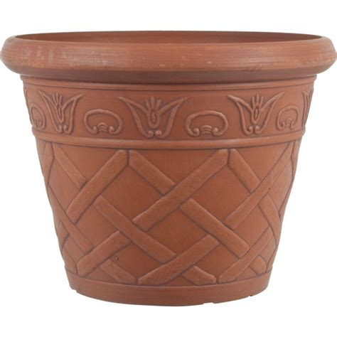 Pride Garden Products 12 In Dia Lattice Terra Cotta Terra Cotta Planter