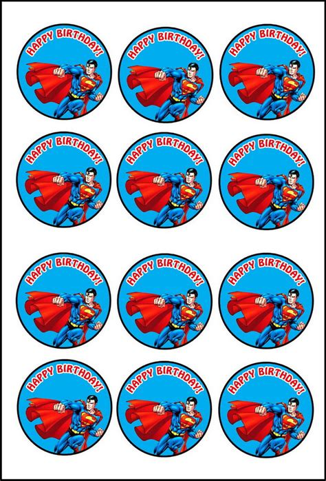 Cupcake Topper Superman 5 superman cupcake toppers birthday printable