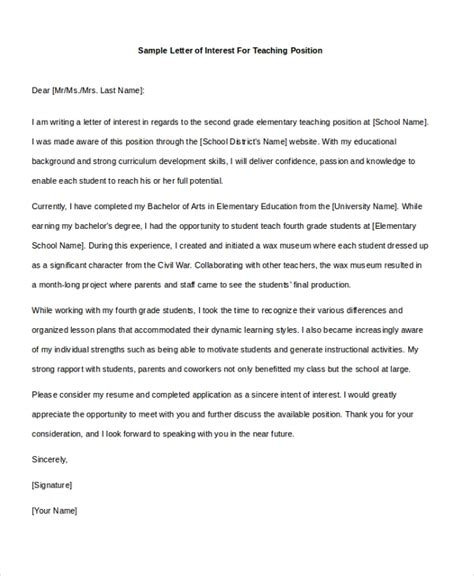 Letter Of Interest For Teaching Position