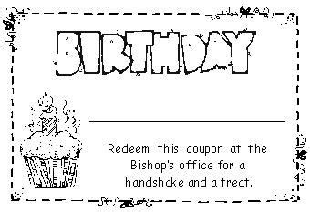 primary birthday treat card template lds primay birthday idea coupon for a treat from the