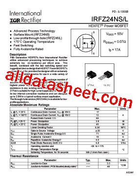Transistor Irfz24n irfz24ns datasheet pdf international rectifier