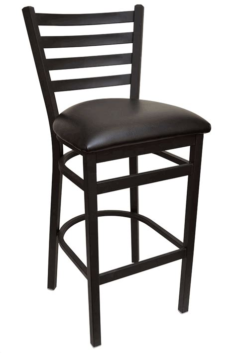 Ladder Back Bar Stool Gladiator Ladder Back Metal Bar Stool With Black Vinyl Seat And Support Frame Ships In 3