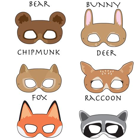 printable raccoon mask woodland forest animals printable masks woodland animal