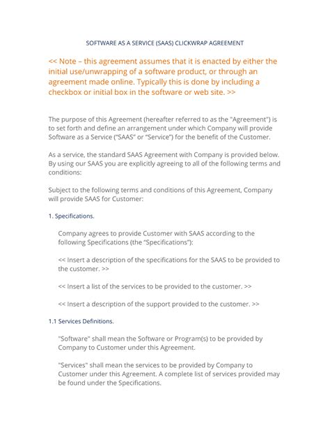Saas Software As A Service Clickwrap Agreement 3 Easy Steps Saas Agreement Template