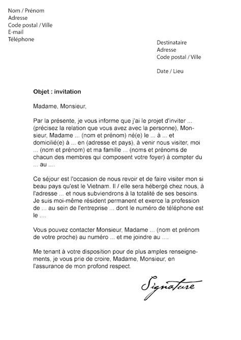 Exemple De Lettre D Invitation Visa Chine lettre d invitation visa mod 232 le de lettre