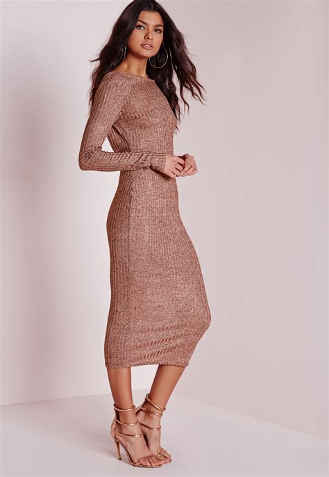 Fashions A30784 Midi Dress Pink missguided sheer knitted low back midi dress pink in purple lyst
