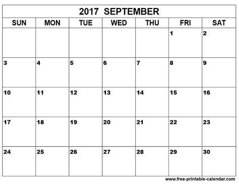 Calendar For September 2017 September 2017 Calendar Printable And Template