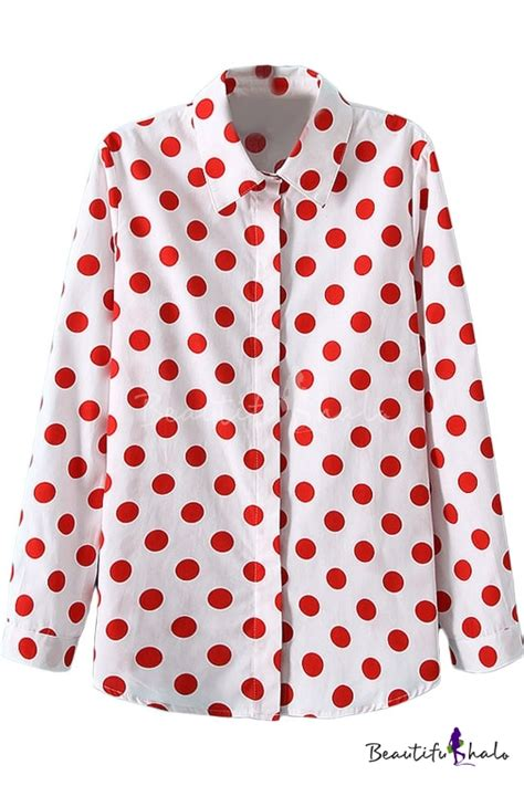 White Dot Top Y222 white lapel polka dot single breast blouse with sleeve beautifulhalo