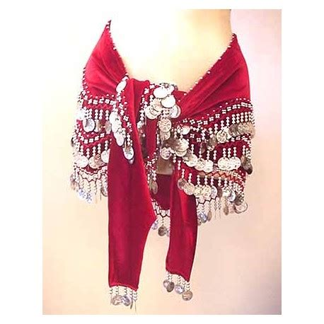maroon belly velvet hip scarf made from lustrous