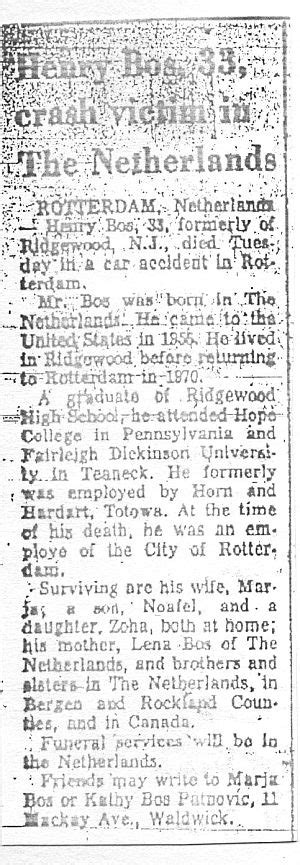 Bergen Record Notices Deaths From Bergen Passaic County Nj Henry Bos