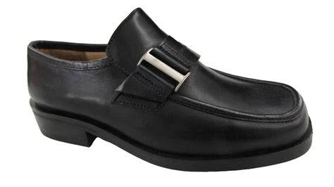 school loafers boys black leather school shoes loafers front