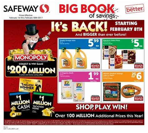 Safeway Monopoly Sweepstakes - monopoly game at safeway is back starting on february 8th winzily
