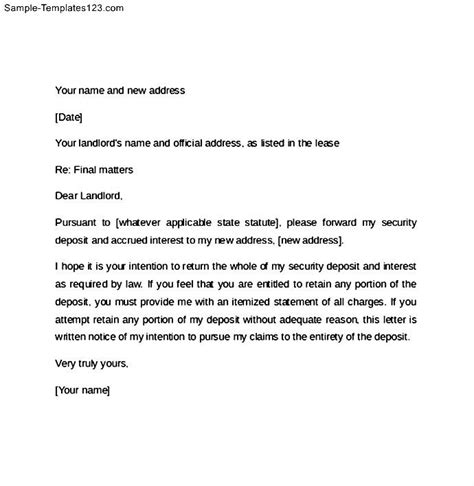 60 day notice letter for landlord sle templates