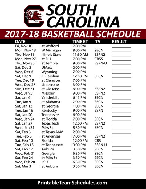 printable unc basketball schedule printable south carolina basketball schedule 2017 18