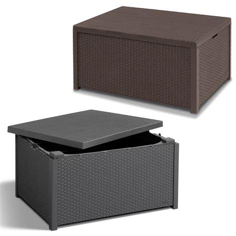 hocker tablett poly rattan auflagenbox tisch beistelltisch hocker