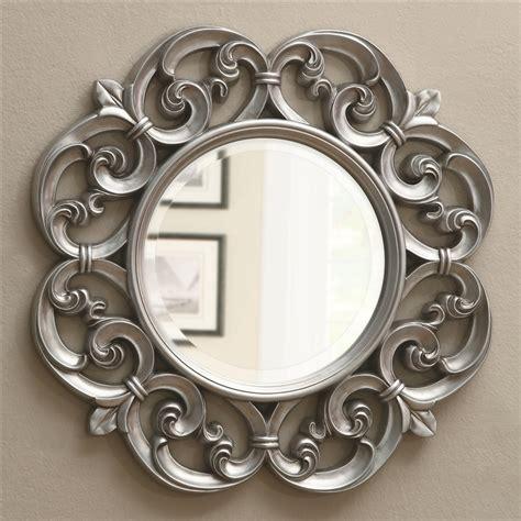 beautiful mirrors silver fleur de lis ornate round wall mirror by coaster