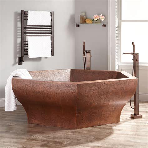 two person tub 73 quot hexagon hammered copper two person soaking tub bathtubs bathroom