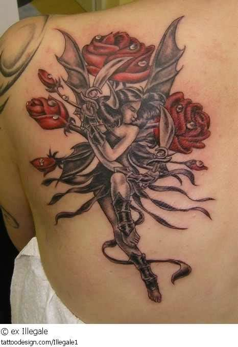 rose and fairy tattoo and design of tattoosdesign of tattoos