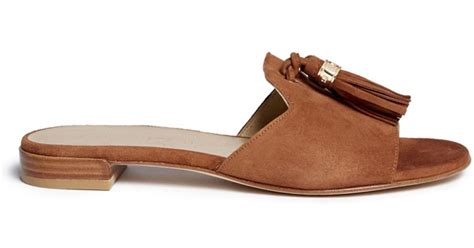 Two Slide Sandals Brown by Stuart Weitzman Two Tassels Suede Slide Sandals In Brown